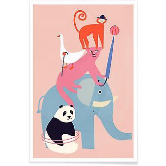 JUNIQE Print - Animal Pyramid - Wildlife Affisch i Färgglada