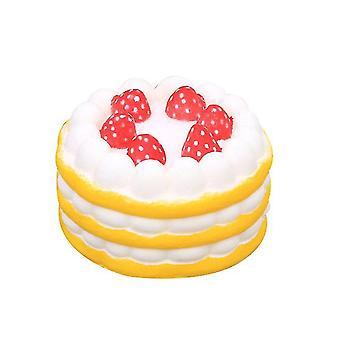 صفراء بو انتعاش بطيء اسفنجي الفراولة كعكة عيد ميلاد نموذج تخفيف الضغط على اللعبة x2033