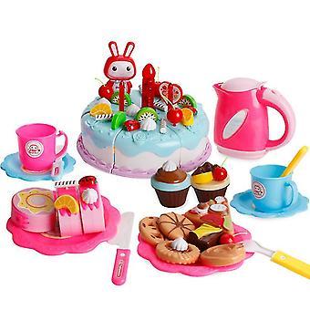 86Pcs עוגת סימולציה צעצוע כחול לילדים להגדיר עם אורות עוגת יום הולדת אחר הצהריים חטיפי תה ילדים מתנות az11181