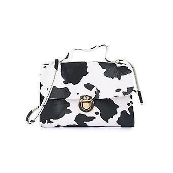 Top Handle Bag With Cow Print Flap Size: Small Material: Pu