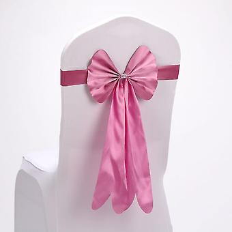 30pcs  Satin Chair Sashes Bow Tie For Wedding Banquet Chair Tie Hotel Decor Pink