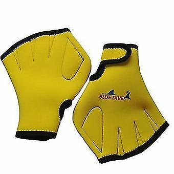 Moye aquatische handschoenen voor het helpen van het bovenlichaam weerstand zwemhandschoenen (geel)