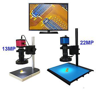 13MP HDMI VGA /22MP 38MP HD USB TF Monocular Mikroskooppi Digitaalikamera Linssi 56 LED-valo Työpenkki Jalusta Korjaus Puhelin Juotos
