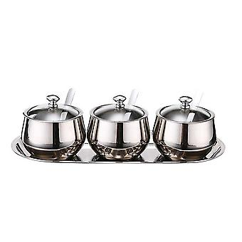 3 Grids Sets 304 Stainless Steel Seasoning Pot Set Round Seasoning Pot Seasoning Box Seasoning Box