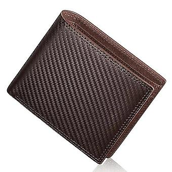 Geldbörse aus Kohlefaserleder Herren kurze multifunktionale horizontale Geldbörse (Braun)