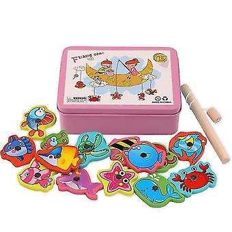 Wooden fishing toys, parent-child interactive early education toys(Pink)