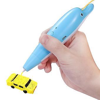 עט תלת-ממדי לילדים - עט הדפסה בתלת-ממד עם טעינת USB - ערכת עט ציור תלת-ממדית - עט הדפסה תלת-ממדי לילדים ומבוגרים, ציור מלאכת יד - עט ציור סטריאו תלת-ממדי - עט עיצוב תלת-ממדי עם סוללה,(כחול)