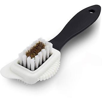 4 lados escova de camurça, latão nubuck multifuncional e escova de cerdas de nylon, escova de limpeza da bota de couro de camurça