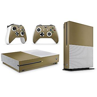 GNG Metallic Gold Skin Decal Sticker Compatible with Xbox One S Console + 2 Controller Skins