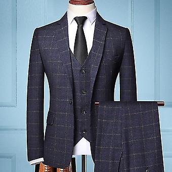 Three-piece Formal Wedding Plaids Jacket Vest Pants Suit