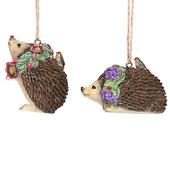 Gisela Graham Hedgehogs & Wreaths Christmas Decoration