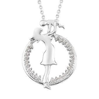 Weiße Zirkon Mutter und Kind Halskette für Frauen in Platin vergoldet Silber 1ct
