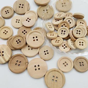 50 Pcs Boutons en bois Couleur naturelle Rond 4 trous Boutons Couture Scrapbooking