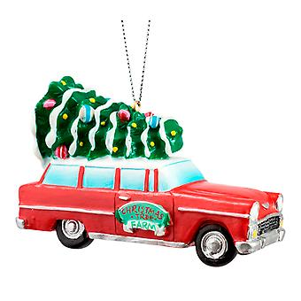 Red and White Car With Tree on Top Christmas Holiday Ornament 3.5 Inches