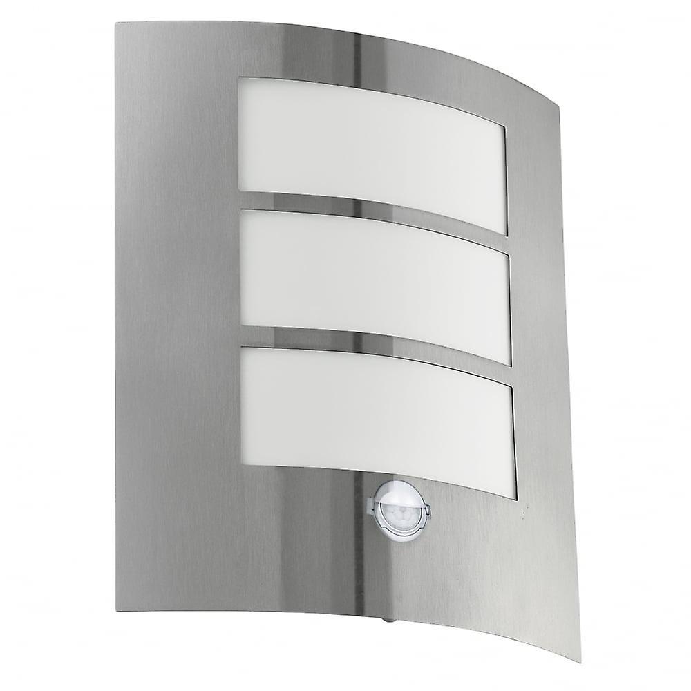 Eglo City 1 Light Modern Outdoor Wall Light Stainless Steel Fini