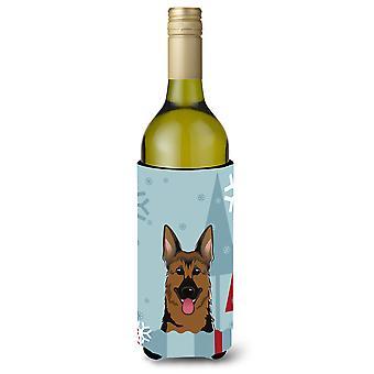 Winter Holiday German Shepherd Wine Bottle Beverage Insulator Hugger