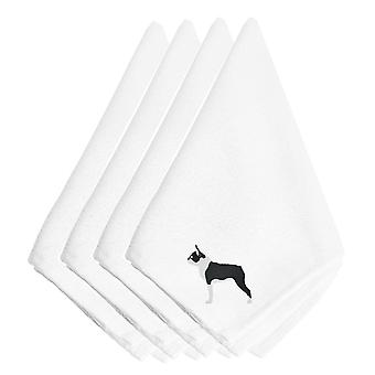 Carolines Treasures  BB3444NPKE Boston Terrier Embroidered Napkins Set of 4