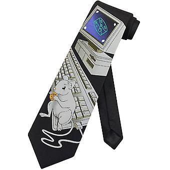 Computer met echte muis mannen stropdas unieke thema Mens nek stropdas