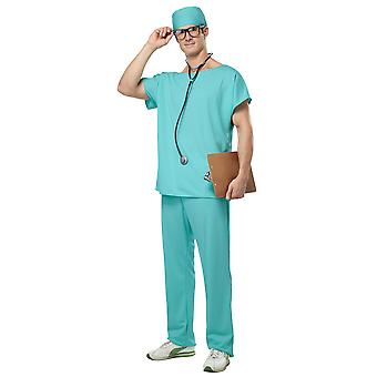 Doctor Scrubs Hospital Surgical Uniform Surgeon Mens Costume & Stethoscope