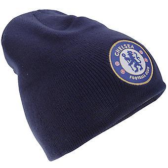Chelsea FC Mens ambtenaar gebreide Winter voetbal Crest Beanie muts