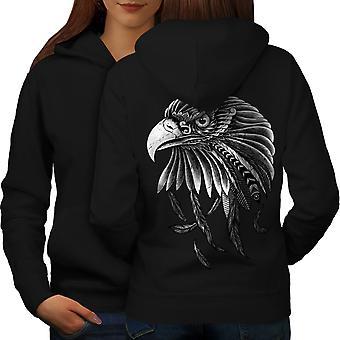 Indio águila mujeres BlackHoodie espalda | Wellcoda