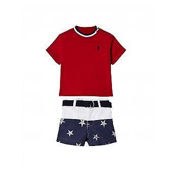 Tricou polo Ralph Lauren copii și pantaloni scurți set
