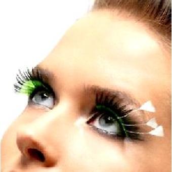 Pluma pluma pestañas - negro - verde y blanco - contiene pegamento