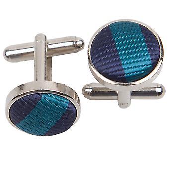 Marineblaue & Petrol / dünne Streifen Manschettenknöpfe