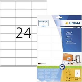 Herma 8638 Labels 70 x 36 mm Paper White 240 pc(s) Permanent All-purpose labels, Franking labels Inkjet, Laser, Copier 10 Sheet A4