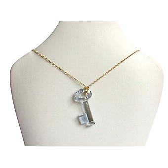 KEY Keychain crystal element necklace gold plated 45 cm