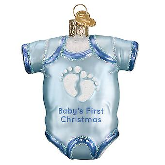Old World Christmas Blue Baby One Piece Babys First Holiday Ornament Glass