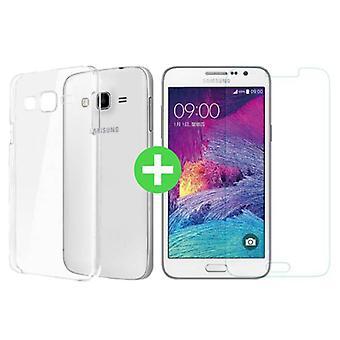 Stuff certificeret® Samsung Galaxy Prime J7 2016 transparent TPU sag + skærmbeskytter hærdet glas