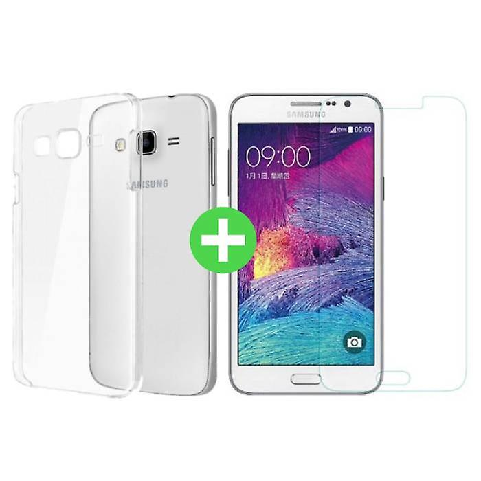 Stuff Certified ® Samsung Galaxy Prime J7 2016 Transparent TPU Case + Screen Protector Tempered Glass