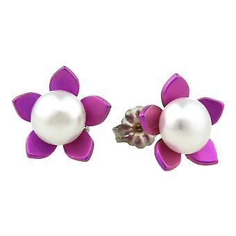 TI2 titanio grande fiore e orecchini di perle - rosa chiaro