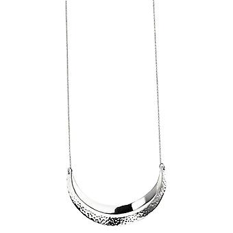 Elements Silver Curved Hammered and Polished Necklace - Silver