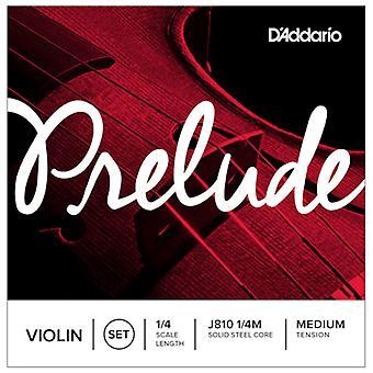 D'Addario Prelude 1/4 Size Medium Tension Violin Strings