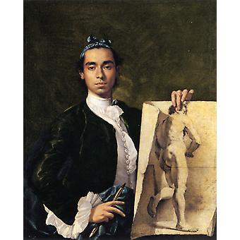 Self-portræt med en tegning af en mandlig, Luis Melendez, 50x40cm