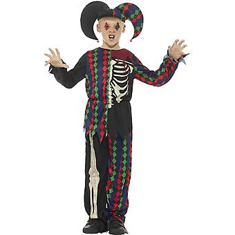 Skeleton Jester Costume, Multi-Coloured, with Top, Trousers & Hat