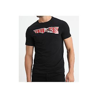 GUESS Black Ripped Logo T-shirt