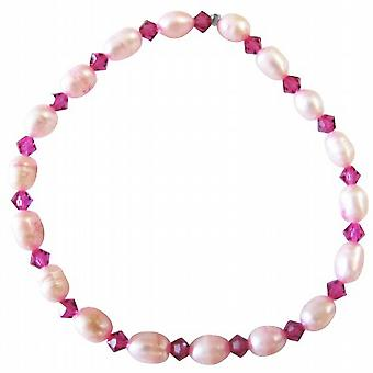 Bracciale cristalli Swarovski a forma di riso rosa fucsia perle d'acqua dolce