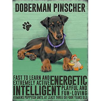 Medium Wall Plaque 200mm x 150mm - Doberman Pincher by The Original Metal Sign Co