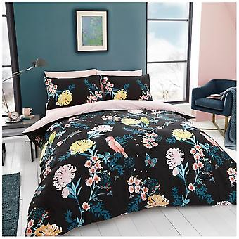 Japanese Floral Love Bird Polycotton Duvet Quilt Cover Bedding Set Pillow Case