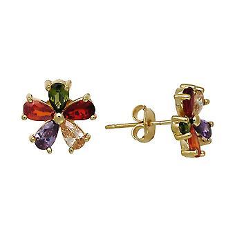 Ah! Jewellery Women's Multi Coloured Flower Stud Earrings With Crystals From Swarovski