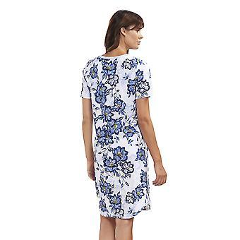 Rosch 1193144-11573 kvinders nye Romance Indigo blomster blå blomstret bomuld nat kjole Loungewear natkjole