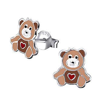Children's Sterling Silver Teddy Bear Stud Earrings