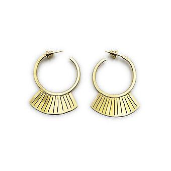 Handmade Ethnic Geometry Fan Hoop Earrings