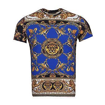 Oscar Banks Baroque Cheetah And Lion Print Mens T-Shirt