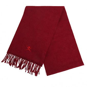 Hackett Embroidered Cashmere Scarf, Wine
