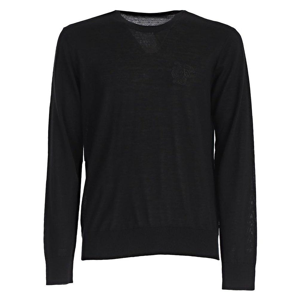 Versace Collection Half Medusa Logo Knitted Sweater Black