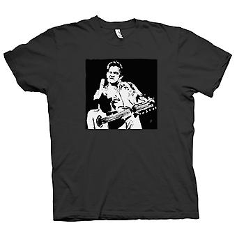 Hombres camiseta-Johnny Cash dedo - BW - Pop Art
